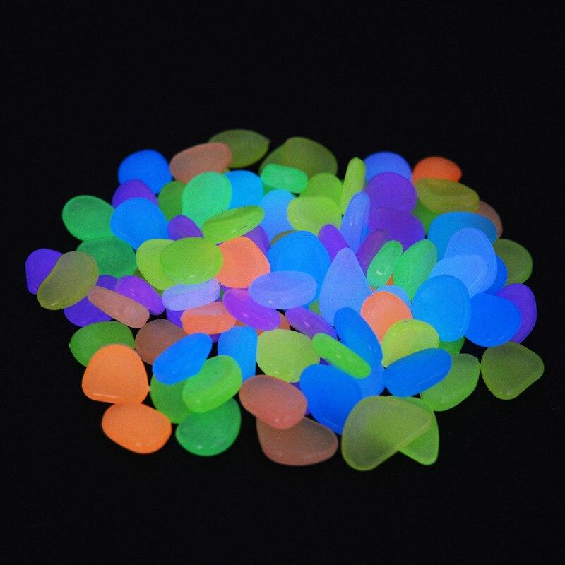 50 sztuk wystrój ogrodu świecące kamienie świecą w ciemności dekoracyjne kamyki na zewnątrz dekoracja akwarium żwirowe skały akwarium Mix kolorów