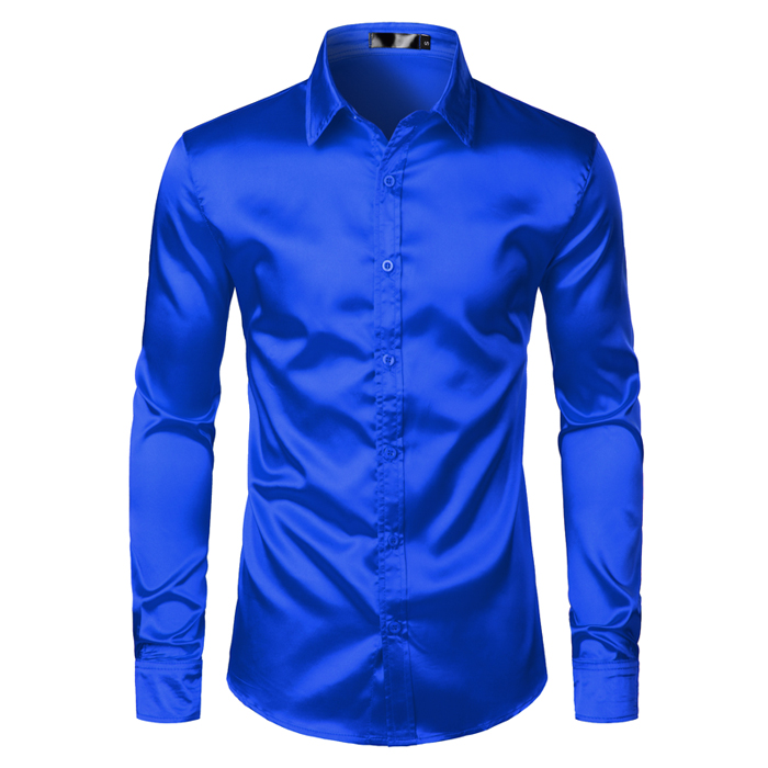 Men's Black Satin Luxury Dress Shirts 2019 Silk Smooth Men Tuxedo Shirt Slim Fit Wedding Party Prom Casual Shirt Chemise Homme 10