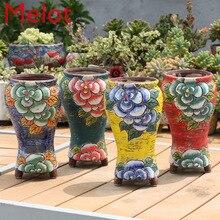 Korean New Style Hand-painted Fleshy Flower Pots Hand-painted Flower Pots Antique Old Pots Korean Pots