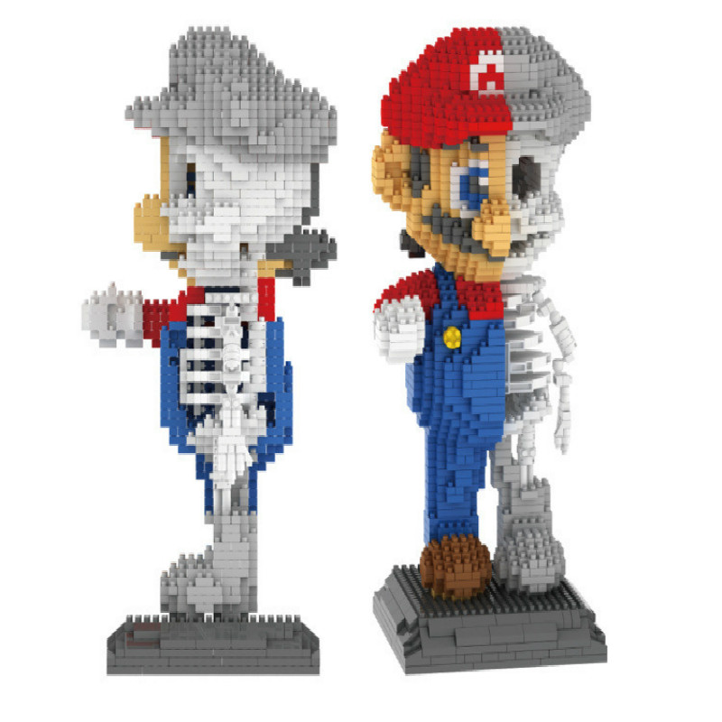 IN STOCK ZRK 7807  apanese Anime Skeleton Super Mario Creator Magic Diamond Building Blocks Bricks Kids Toys Christmas gift