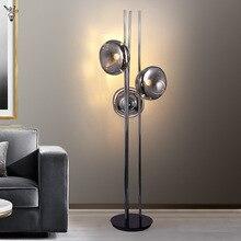 Nordic Lava Floor Lamp luxury Smoky Gray Glass Standing Lamps Living Room Decor Led Lighting Bedroom Decor Corner Stand Light