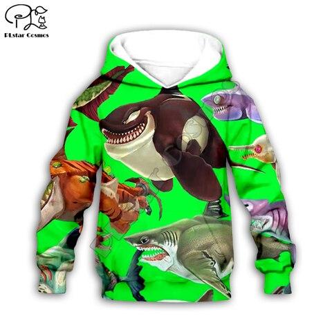 crianca do miudo do bebe da menina menino 3d dos desenhos animados hoodies moletom tubarao