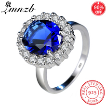 LMNZB Princess Diana William Kate Blue CZ Zircon Engagement Rings for Women 925 Sterling Silver Wedding Ring Jewelry Gift LR234 top quality princess kate blue gem created blue crystal 925 sterling silver wedding finger crystal ring brand jewelry for women