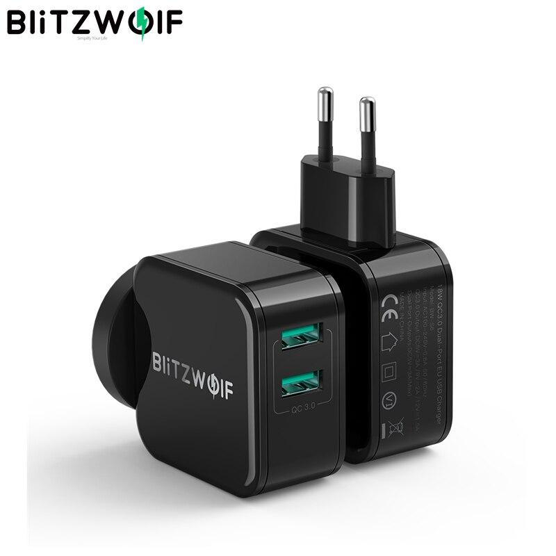 BlitzWolf QC3.0 + 2.4A 18 Вт двойной USB Порт быстрого зарядного устройства для мобильного телефона EU AU адаптер для путешествий настенное зарядное устр...