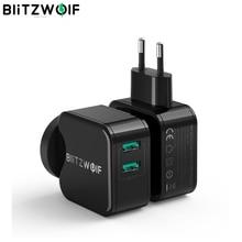 BlitzWolf QC3.0 + 2.4A 18 واط المزدوج USB سريع شاحن ميناء الهاتف المحمول الاتحاد الأوروبي الاتحاد الافريقي محول السفر الجدار شاحن آيفون 11 8 X لهواوي