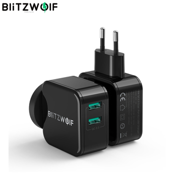 BlitzWolf QC3.0+2.4A 18W Dual USB Fast Charger Port Mobile Phone EU AU Adapter Travel Wall Charger For iPhone 11 8 X For Huawei