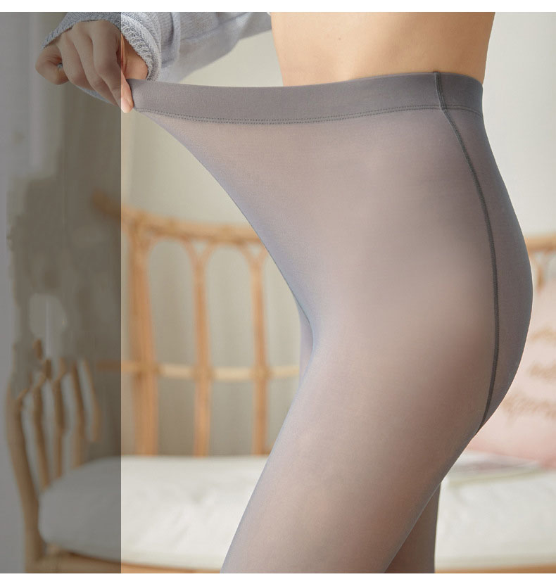 Through The Meat Warm Leggings Winter Warm Thicken Imitation Skin Black Women  Fake Translucent Warm Pants