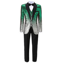 3 Pieces Shiny Sequin Mens Suit Slim Fit Green Peak Notch Lapel Red Tuxedo for Party Wedding Banquet Nightclub Blazer+Vest+Pant(China)