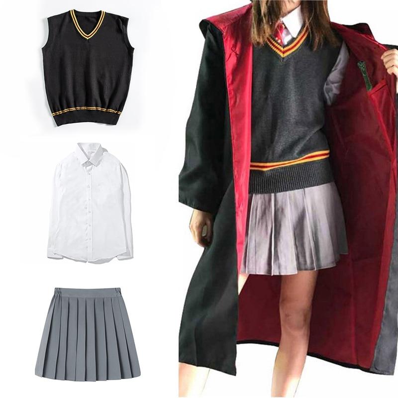Christmas gift,Luna Lovegood Cosplay Robe Cloak Pullover Sweater Shirt Skirt Tie Badge Scarf Wand Harris Costume