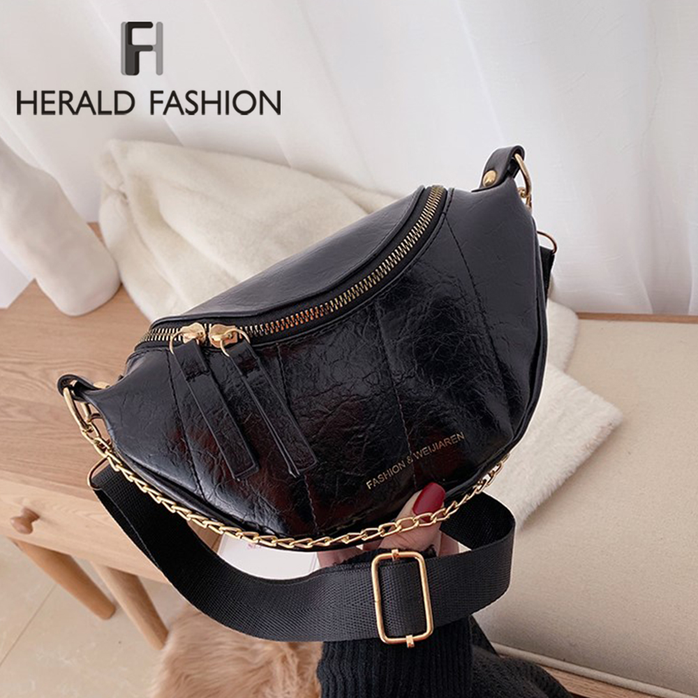Solid Color Pu Leather Crossbody Bags For Women 2020 Round Zipper Shoulder Messenger Bag Lady Chain Travel Handbags And Purse