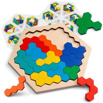 Wood Puzzles IQ Hexagon Puzzle Honeycomb Shape Tangram Board Toy Interesting Changeful Puzzle Toys for Children Adults Education