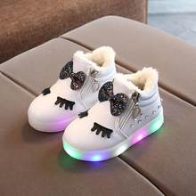 New Winter Children's Warm Led Boots Girls Glowing Shoes Kids Girls Fur Luminous Sneakers Baby Kid Light Shoes(China)
