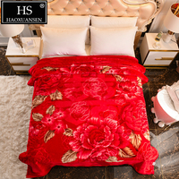 Red 2.7 kg 2 Ply Soft Cloudy Blanket Flower Pattern Home Bed Sofa All Season Throw Blankets 200*230 cm Warm Lightweight Quilt|Blankets|   -