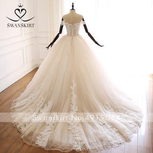 Image 2 - Swanskirt Appliques Beaded A Line Wedding Dress Sweethea Off Shoulder Princess Court Train Bridal Gown Vestido de Noiva A265