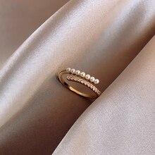 2020 nuevo anillo de perlas de metal geométrico clásico joyería femenina coreana anillo de apertura de estudiante de moda anillo de regalo de fiesta