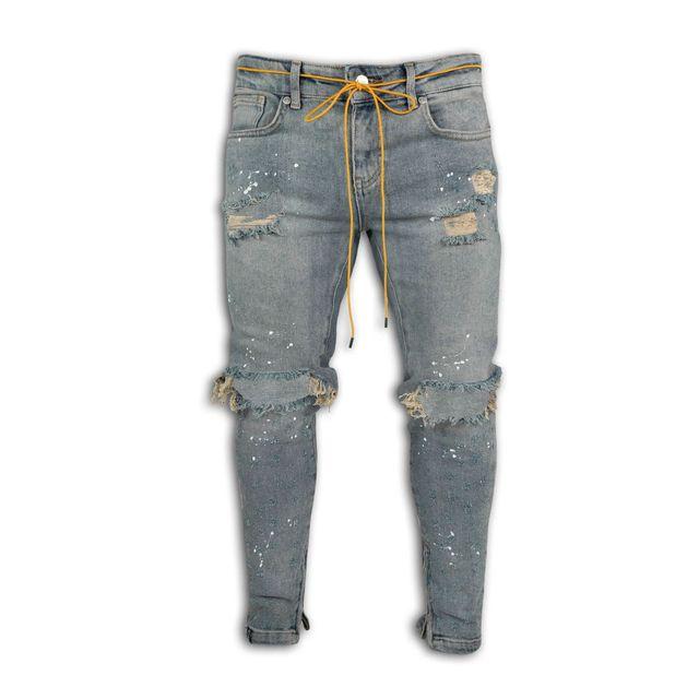 Pantalones vaqueros elásticos para hombre, Jeans ajustados con cremallera en el tobillo, diseño de punto de pintura rota 4