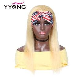 Yyong 30inch 613 Blond Headband Human Hair Wigs For Black Women Honey Blond Brazilian Straight Remy Human Hair Headband Wigs