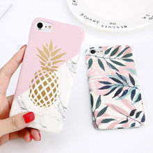 Funda de teléfono con estampado de hoja de flor para iPhone 7 Plus XR XS Max piña mármol funda dura X 8 para iPhone 6 Plus 5 SE(China)
