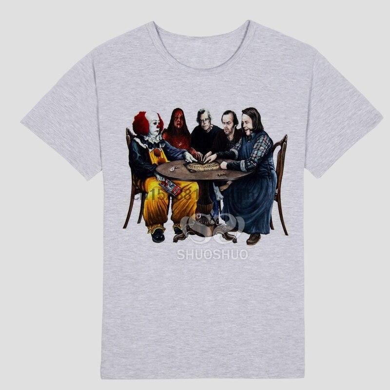Men Horror Movie Stephen King IT Joker Clown Printed Short Sleeve T-shirt