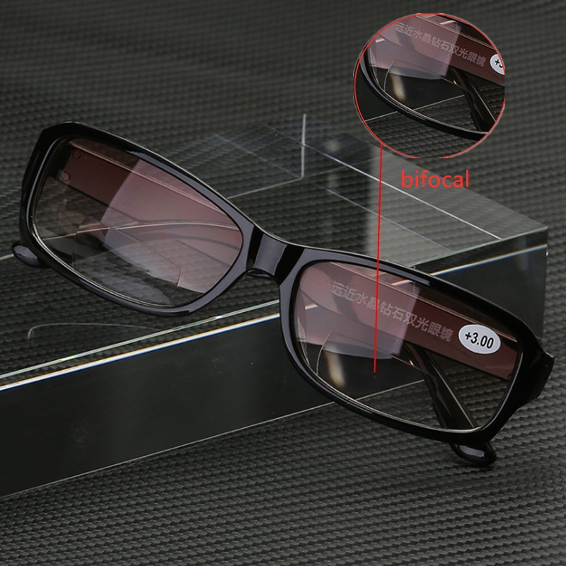 Progressive Reading Glasses Bifocal Multifocal Men Women Auto Focus Lightweight Presbyopic Glasses Magnifying Plastic Black