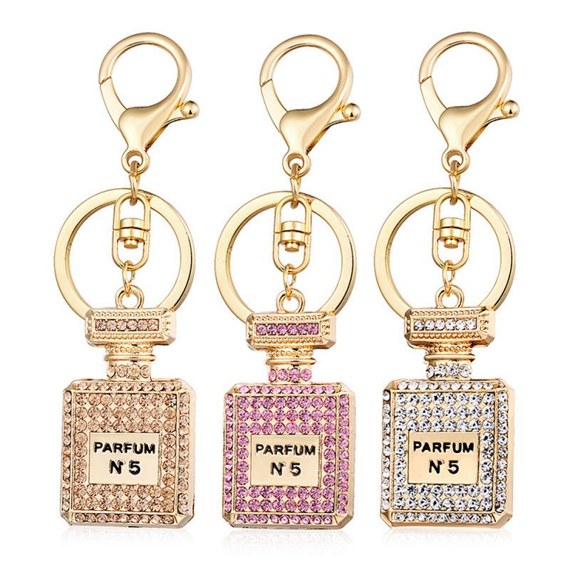 Fashion perfume bottle Charms Accessories Key Ring 3 Colors Rhinestone Crystal Perfume Bottle Keychain Gift Keyring ornaments(China)