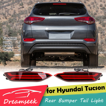 Red Lens LED Reflector Rear Bumper Tail Light for Hyundai Tucson IX35 2015 2016 2017 Brake Lamp Audi Style w Dynamic Turn Signal