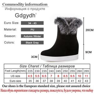 Image 5 - Gdgydhคุณภาพดีฤดูหนาวรองเท้าผู้หญิงรองเท้ารองเท้าส้นสูง 2019 สีดำสีเทาขนสัตว์สุภาพสตรีรองเท้าบู๊ทหิมะPlusขนาด 43