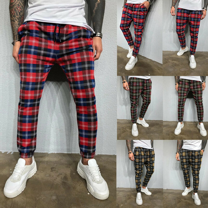 Fashion Men Plaid Casual Running Joggers Autumn Sport Slim Fit Pants Skinny Drawstring Pencil Trousers Fashion