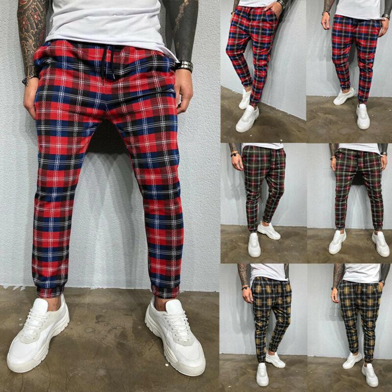 Fashion Men Plaid Casual Running Joggers Autumn Sport Slim Fit Pants Skinny Drawstring Pencil Trousers Fashion
