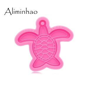 Dy0586 brilhante tartaruga brilhante que faz chaveiro-molde de argila de polímero-molde de resina ofício colar-epóxi jóias silicone molde
