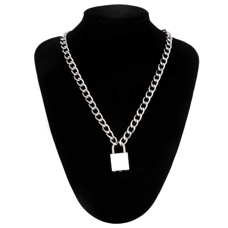 Punk chain with lock necklace for women men padlock pendant necklace 2019 statement  gothic cool  fashion jewelry