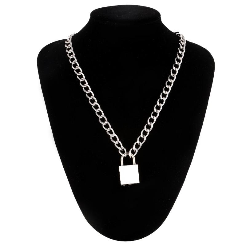 Punk Chain With Lock Necklace For Women Men Padlock Pendant Gothic Grunge Aesthetic Egirl Alternative Fashion Jewelry