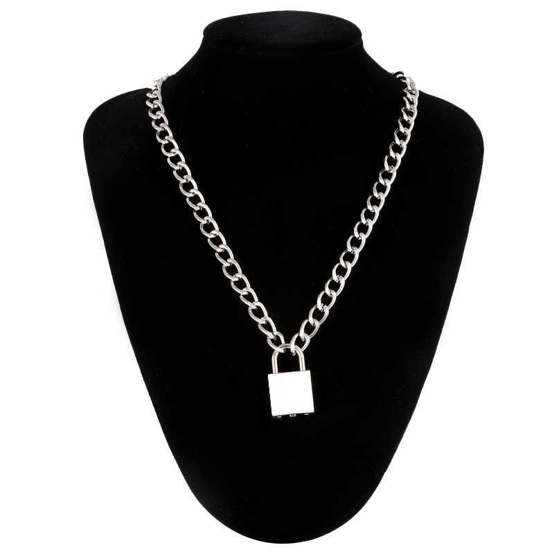 Punk catena con collana di blocco per le donne degli uomini lucchetto pendente della collana 2019 dichiarazione gotico freddo dei monili di modo