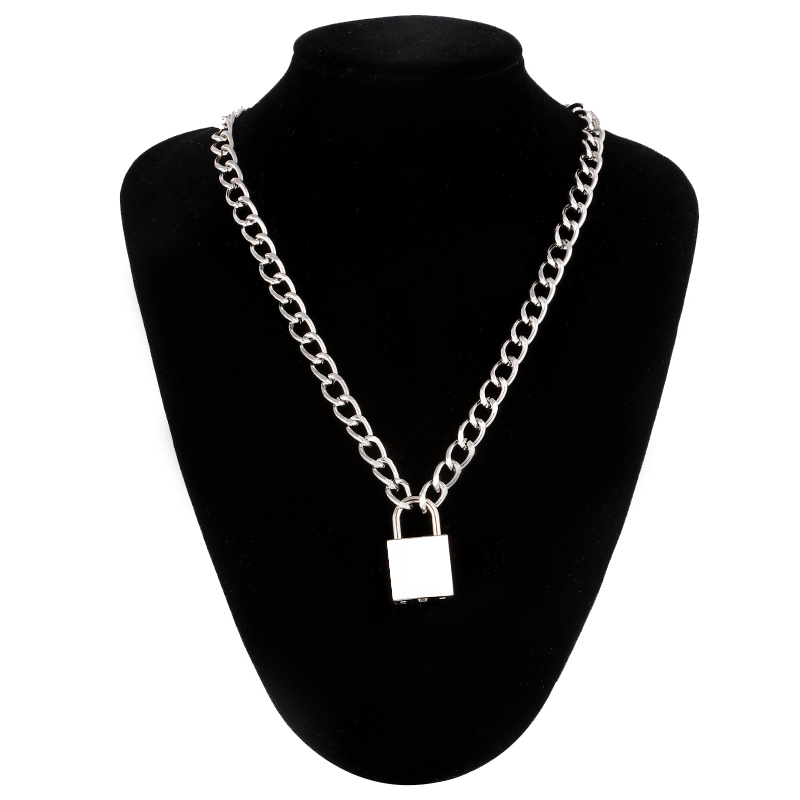 Punk chain with lock necklace for women men padlock pendant necklace gothic grunge aesthetic egirl alternative fashion jewelry(China)
