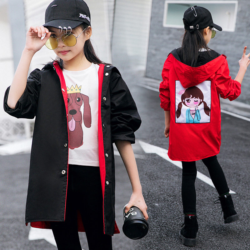 Two Sides Wear Cartoon Pattern Jacket Baby Girl Hooded Thin Autumn Clothes 2019 New Single Casual Hooded   Trench   Coat Windbreaker