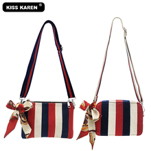 KISS KAREN Chic Womens Shoulder Bags with Scarves High Quality Striped Color Canvas Bag Stylish Wristlets Women Purse