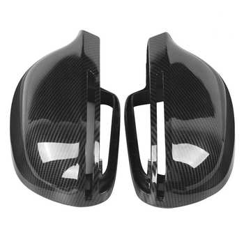 2 sztuk ABS kolor włókna węglowego obudowa lusterek samochodowych obudowa skrzydła i osłona pasuje do A4 B8 A6 C6 A5 8T Q3 A3 8P