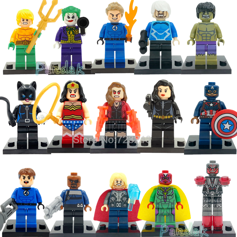 Single Super Hero Quick Silver Nick Fury Figure Aquaman Human Torch Thor Scarlet Witch Joker Vision Building Blocks Toys Legoing