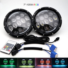 7 inch LED Headlight DRL Halo Angle Eyes RGB High/Low Beam with Remote Control for Jeep Wrangler JK LJ CJ Hummer H1 H2 Headlamp.