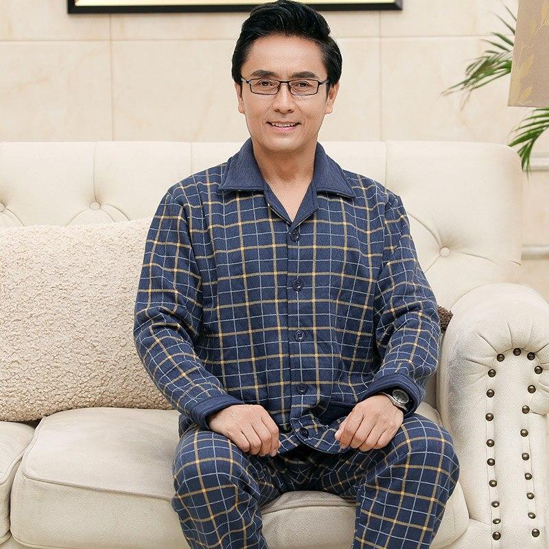 Autumn Winter Knitted Cotton Quilted Men's Pyjamas Plaid Pajamas Set Casual Male Sleepwear Pyjamas Night Pijamas M-4XL Homewear