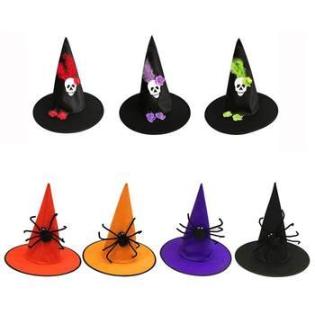 Decorazione del partito 1Pc Delle Donne di Età Nero Freddo Cappello della Strega Per Halloween Costume Nero Accessorio Cappello Del Partito di Halloween Puntelli