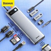 Baseus-concentrador de red USB 3,0 tipo C, Adaptador 4K @ 30Hz HD PD 100W, estación de Puerto 9/11 en 1 para Macbook Pro, portátil, divisor USB