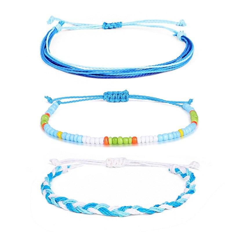 3Pcs/set Women Simple Bracelets Retro Colorful Beads Blue Rope Geometric Braid Bracelet Set Fashion Beach Jewelry Accessories