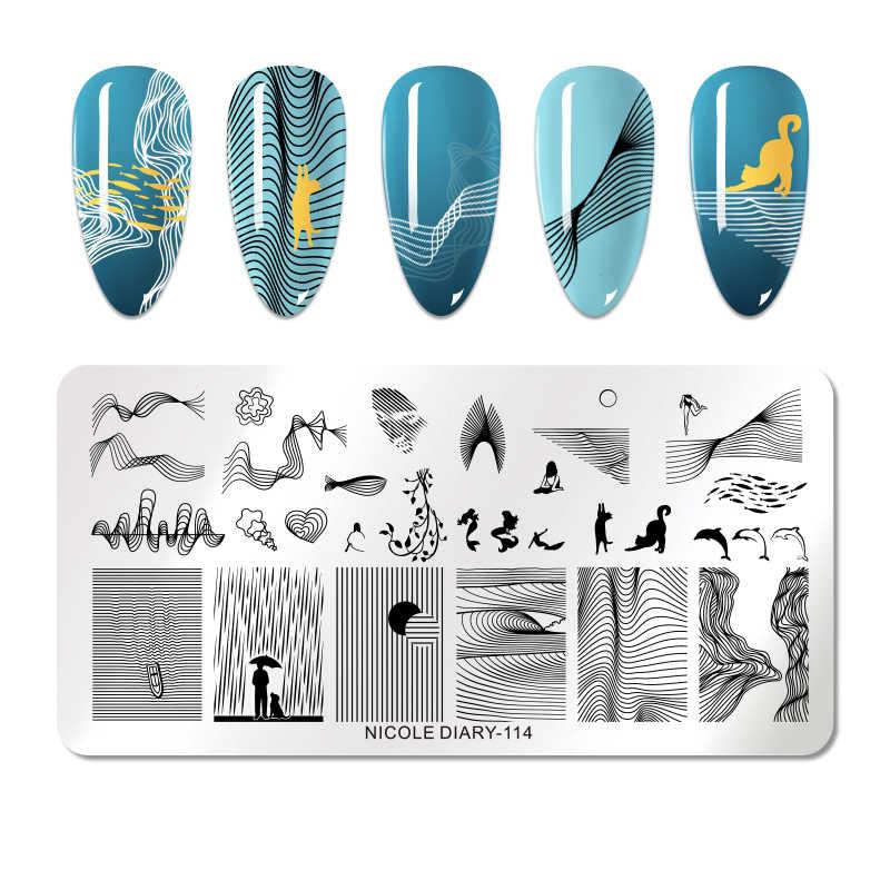 Nicole Diary Ular Desain Stamp Piring Kuku Stamping Template Menyebarkan Bunga Pola Garis Cetak Stensil Manikur Kuku Seni Alat