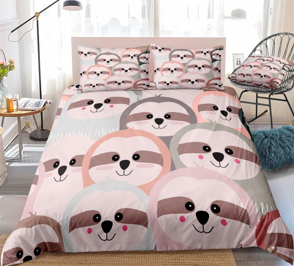 Pink Sloth Bedding Cartoon Animal Duvet Cover Set Pink Yellow Flowers Sloth Printed Cute Girls Bedding Sets Twin 1 Duvet Cover 1 Pillowcase Twin, Pink