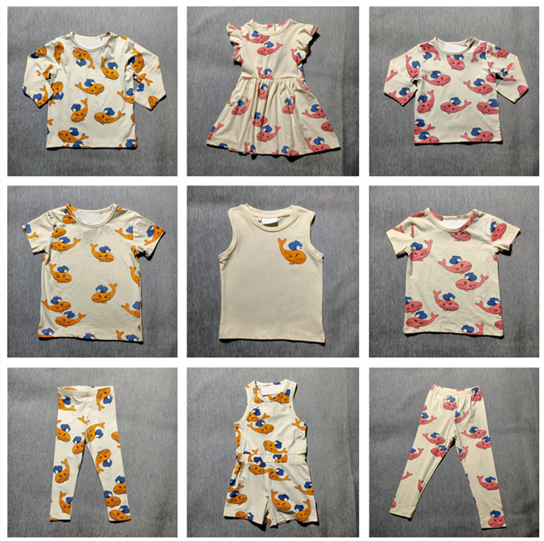 Spring and Summer 2020 new children's boys and girls dress suit dolphin whale print t-shirt one-piece dress leggings suit 1