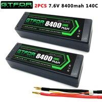 GTFDR 2 uds 2S Lipo batería 7,4 V 7,6 V HV 8400mAh 7000mAh 6200mA 5200mAh 140C/280C 100C/200C 60C/120C 4mm para 1/8 de 1/10 rc Coche