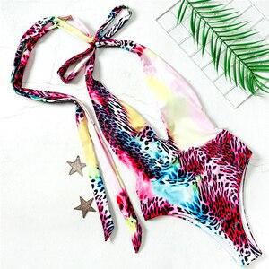 Image 5 - Sexy Animal Print Costume da Bagno di Un Pezzo Profondo Scollo a V Tute Monokini Fasciatura Costumi da Bagno Delle Donne di Alta Cut Costume da Bagno Estate Bagnanti