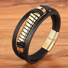 Luxury Fashion Geometric Design Multi-layer Men's Leather Stainless Steel Bracelet Gold & Steel Selection Magnet Bracelet Gift