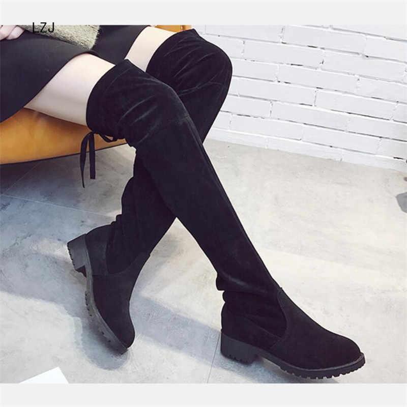 LZJ 2019 Ince Çizmeler Seksi Kış Diz Yüksek Süet Yeni kadın Moda Rahat Sıcak Uyluk Yüksek Çizmeler Kışlık Botlar kadın